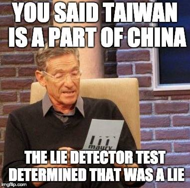 You said Taiwan is part of China