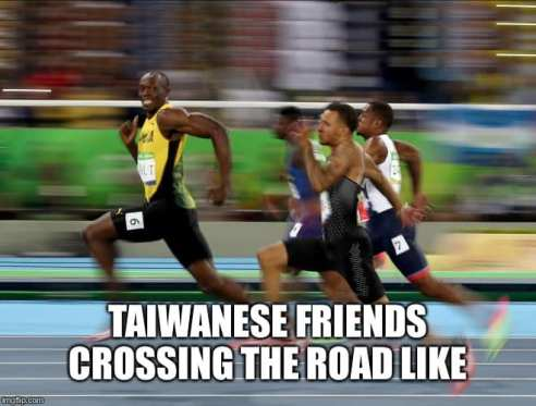 Taiwanese friends crossing the road like