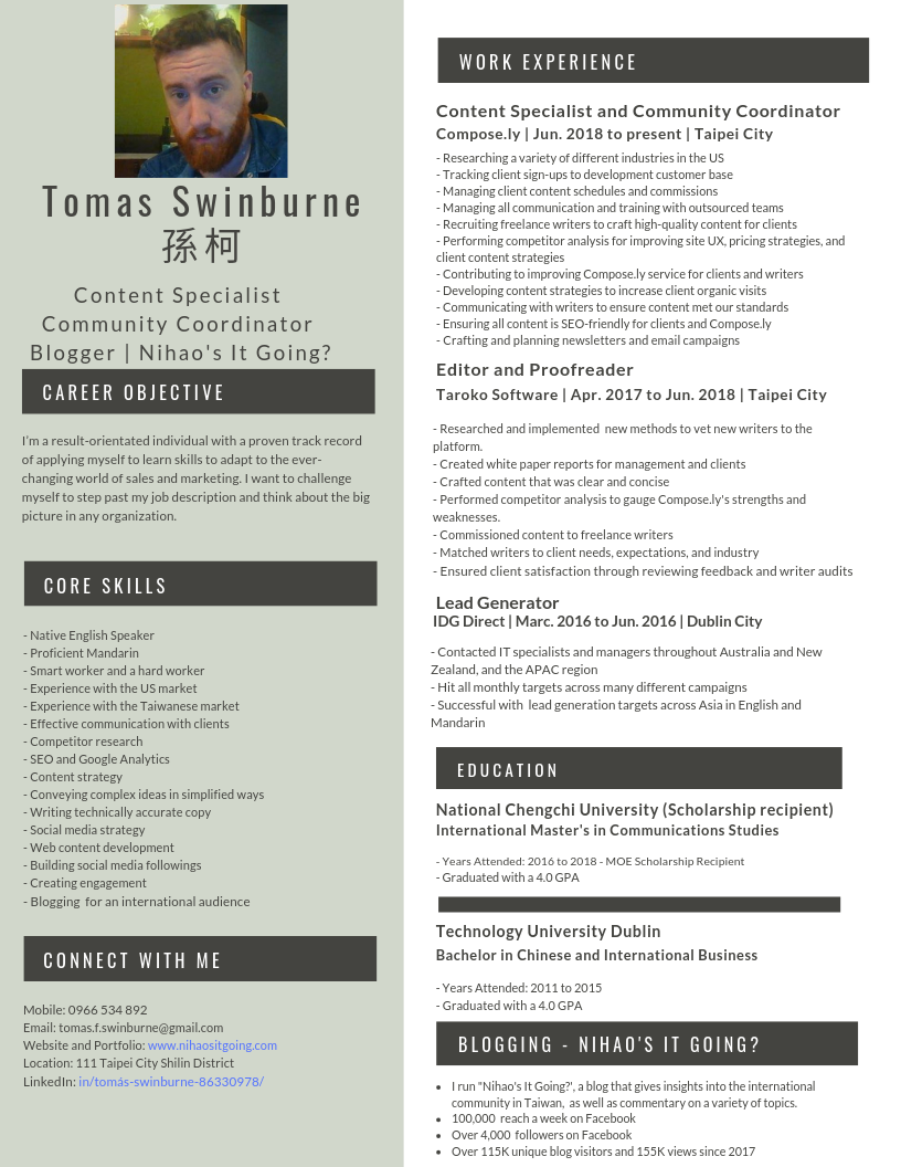 Tomas Swinburne CV/Resume